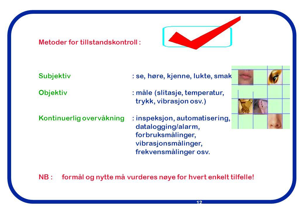 Metoder for tillstandskontroll :
