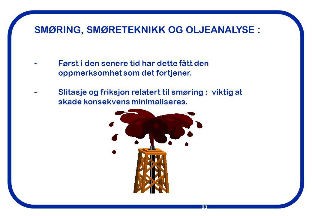 SMØRING, SMØRETEKNIKK OG OLJEANALYSE :