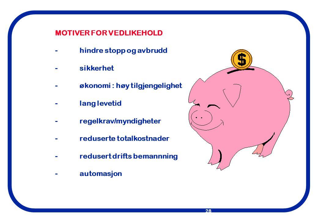MOTIVER FOR VEDLIKEHOLD