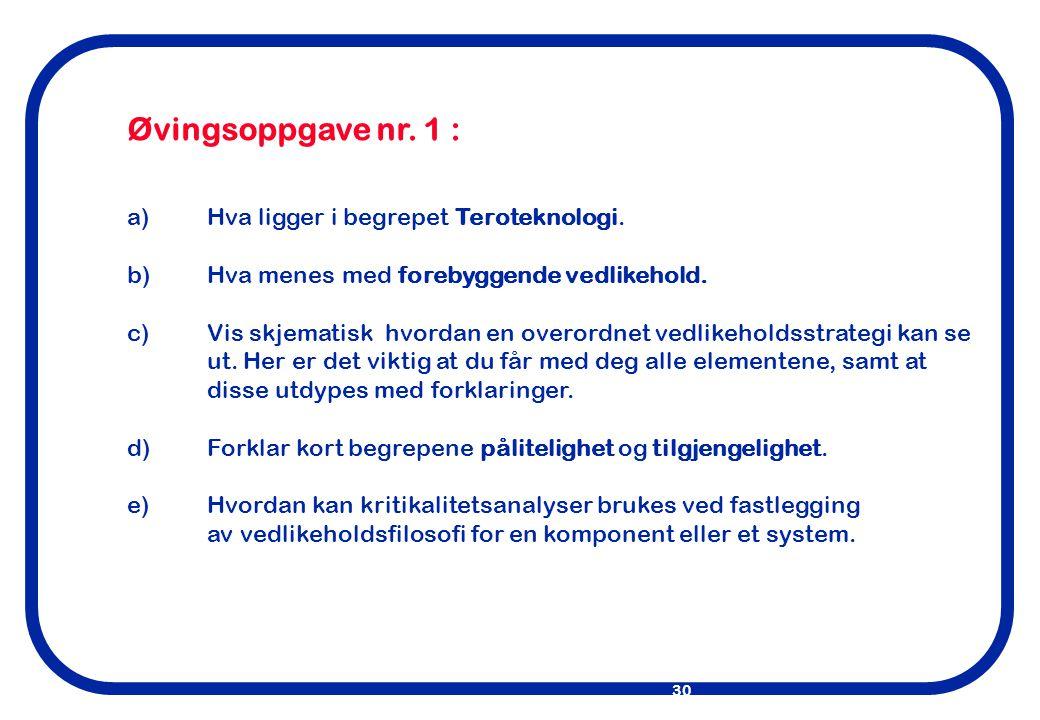 Øvingsoppgave nr. 1 : a) Hva ligger i begrepet Teroteknologi.