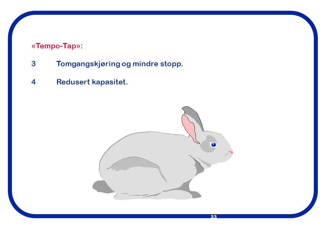 «Tempo-Tap»: 3 Tomgangskjøring og mindre stopp. 4 Redusert kapasitet.