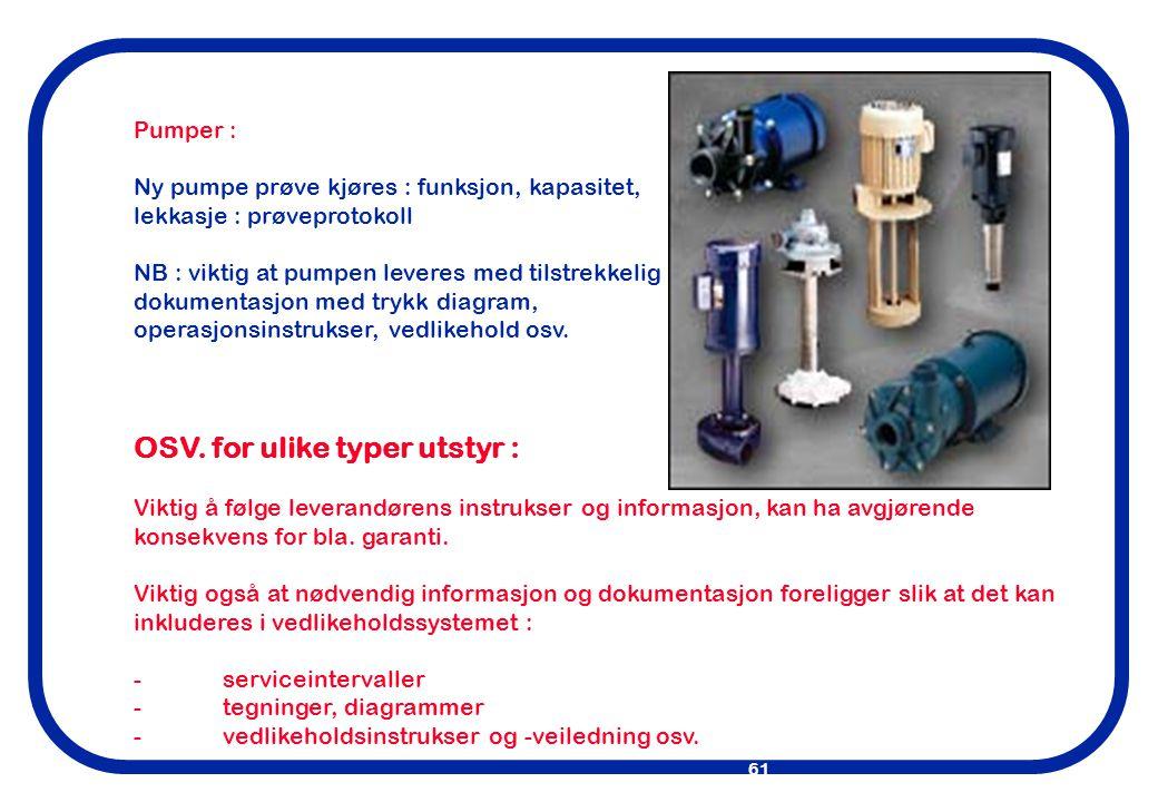 OSV. for ulike typer utstyr :