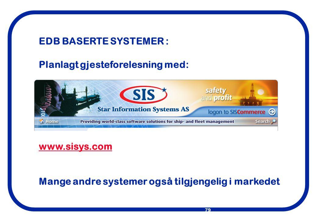 EDB BASERTE SYSTEMER : Planlagt gjesteforelesning med: www.sisys.com.
