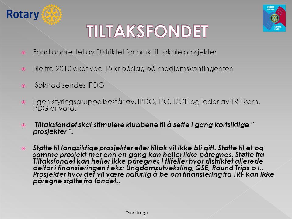 TILTAKSFONDET Fond opprettet av Distriktet for bruk til lokale prosjekter. Ble fra 2010 øket ved 15 kr påslag på medlemskontingenten.