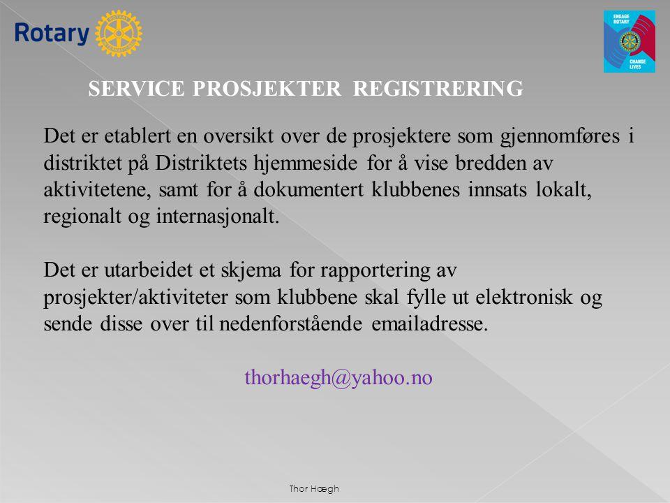 SERVICE PROSJEKTER REGISTRERING