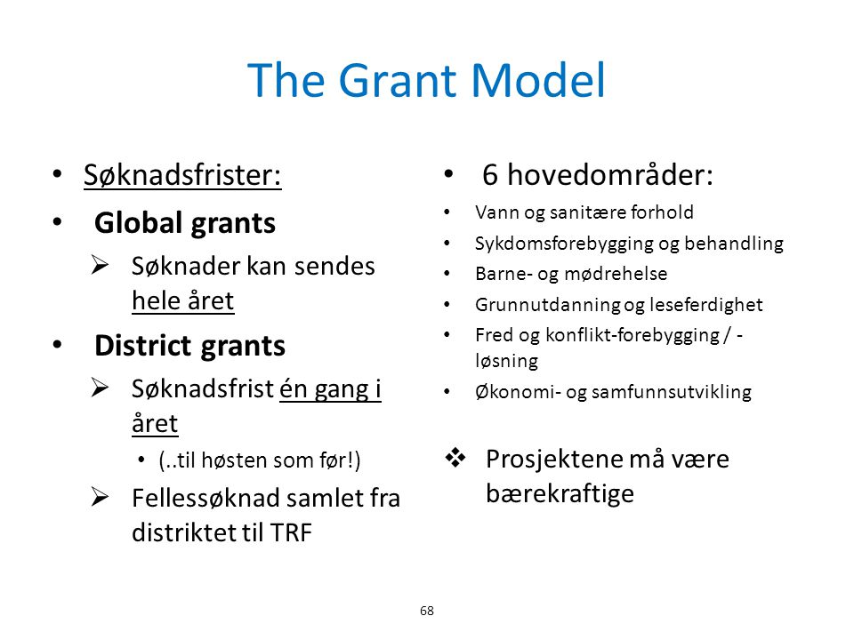 The Grant Model Søknadsfrister: Global grants District grants