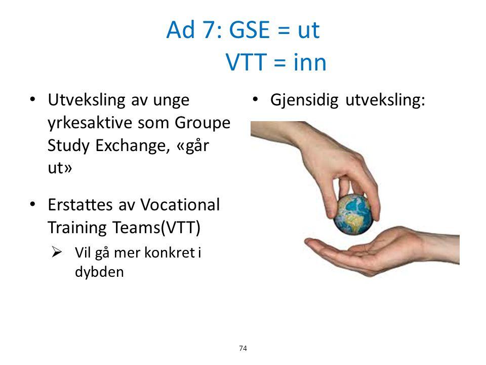 Ad 7: GSE = ut VTT = inn Utveksling av unge yrkesaktive som Groupe Study Exchange, «går ut»