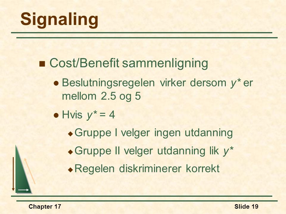 Signaling Cost/Benefit sammenligning