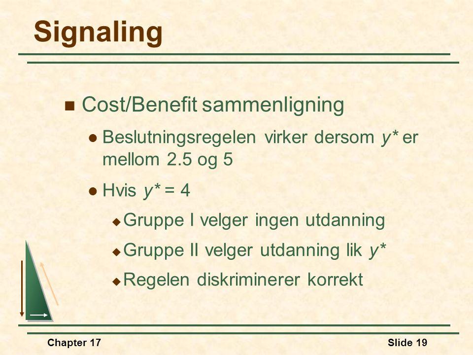 Signaling Cost/Benefit sammenligning
