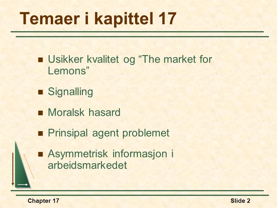 Temaer i kapittel 17 Usikker kvalitet og The market for Lemons