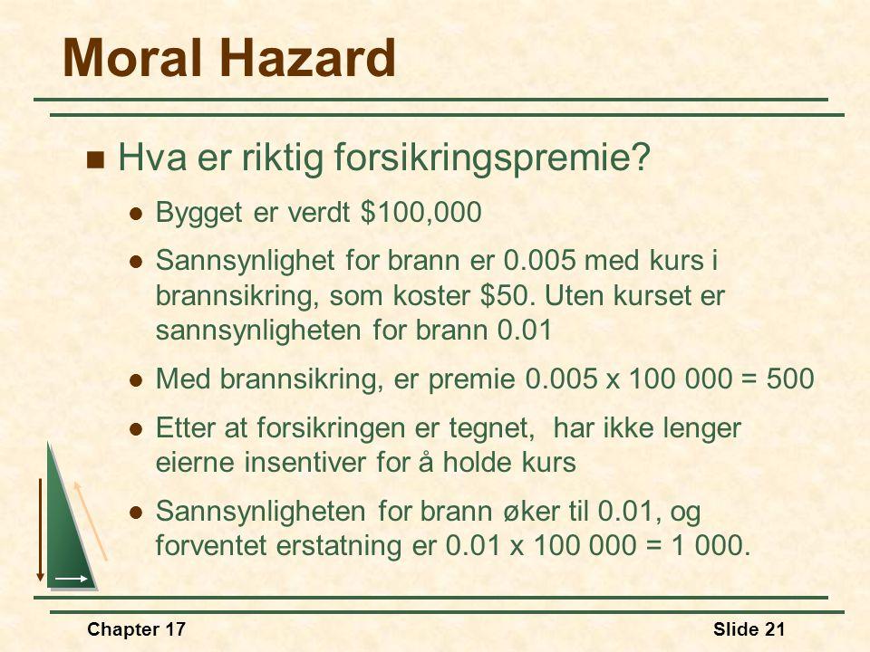 Moral Hazard Hva er riktig forsikringspremie Bygget er verdt $100,000