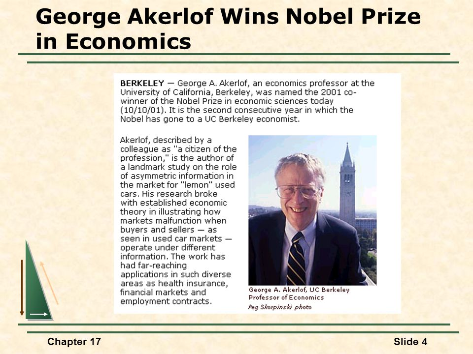 George Akerlof Wins Nobel Prize in Economics