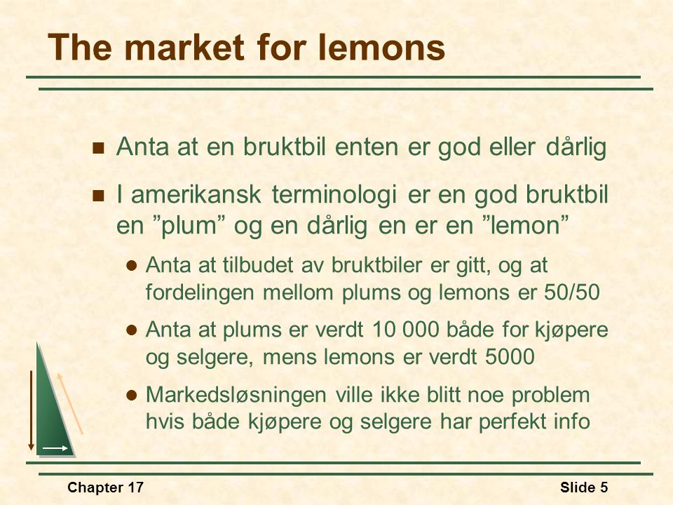 The market for lemons Anta at en bruktbil enten er god eller dårlig