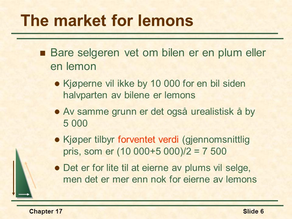 The market for lemons Bare selgeren vet om bilen er en plum eller en lemon.
