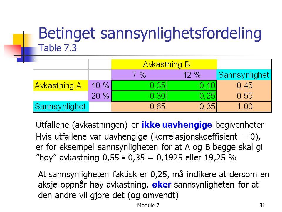 Betinget sannsynlighetsfordeling Table 7.3