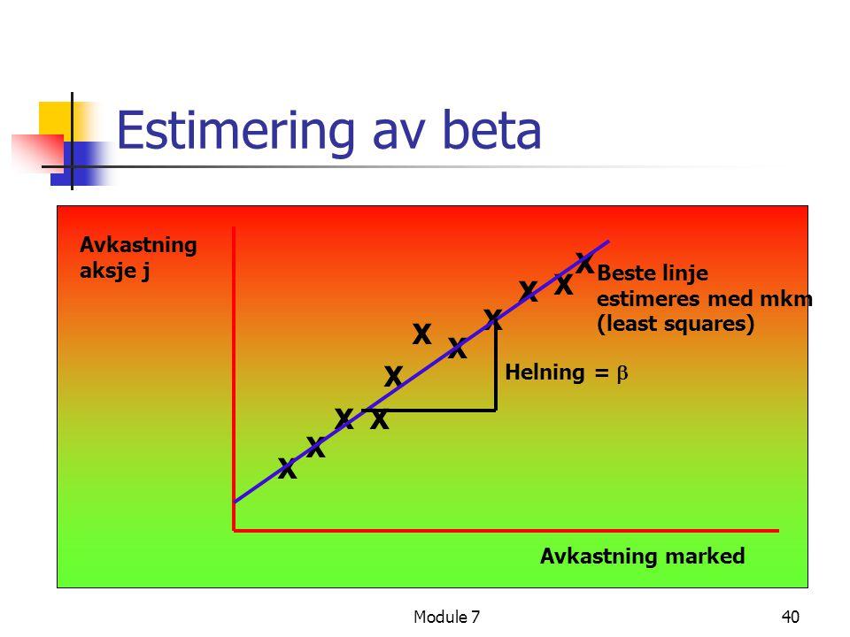 Estimering av beta X X X X X X X X X X X Avkastning aksje j
