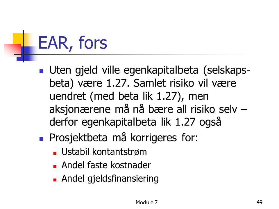 EAR, fors