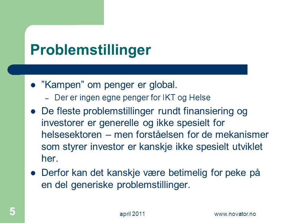 Problemstillinger Kampen om penger er global.