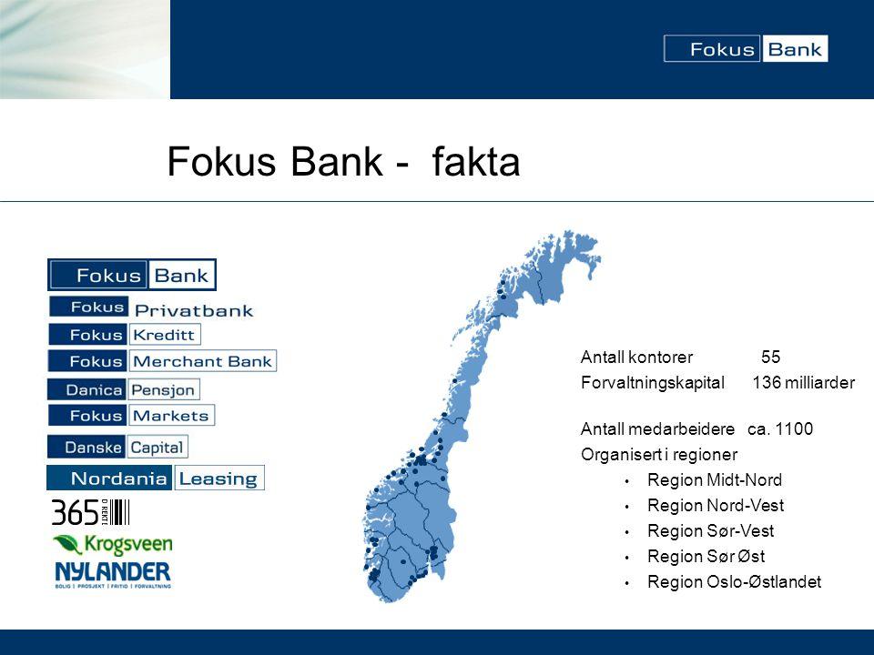 Fokus Bank - fakta Antall kontorer 55