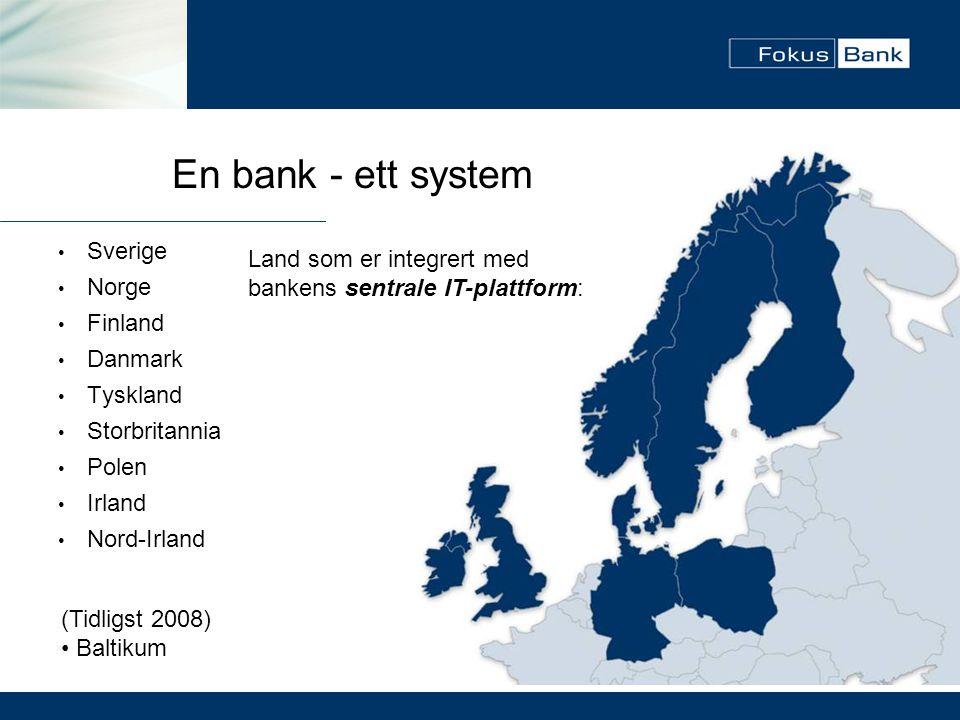 En bank - ett system Sverige Land som er integrert med Norge