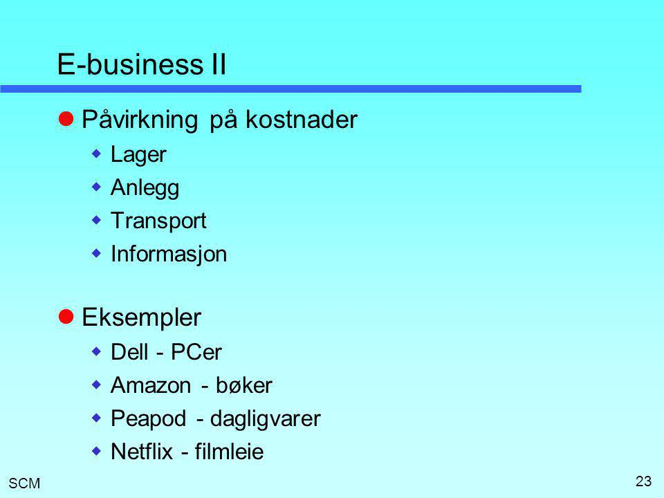 E-business II Påvirkning på kostnader Eksempler Lager Anlegg Transport