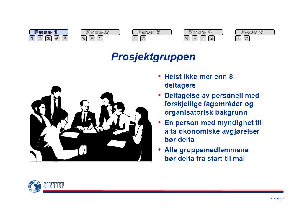 Prosjektgruppen Helst ikke mer enn 8 deltagere