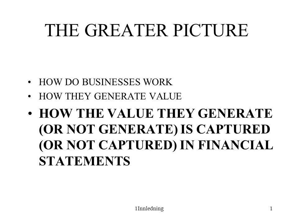 THE GREATER PICTURE HOW DO BUSINESSES WORK. HOW THEY GENERATE VALUE.