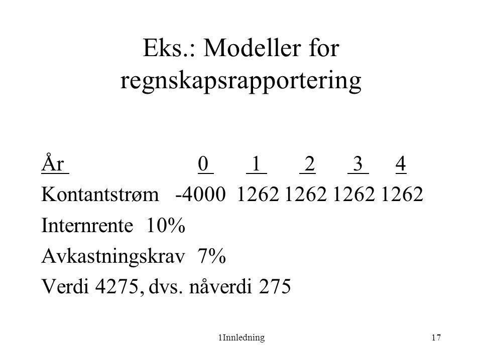 Eks.: Modeller for regnskapsrapportering