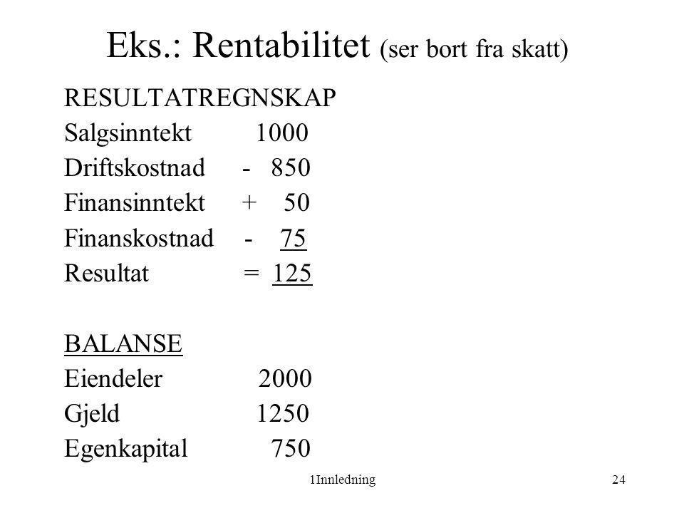 Eks.: Rentabilitet (ser bort fra skatt)
