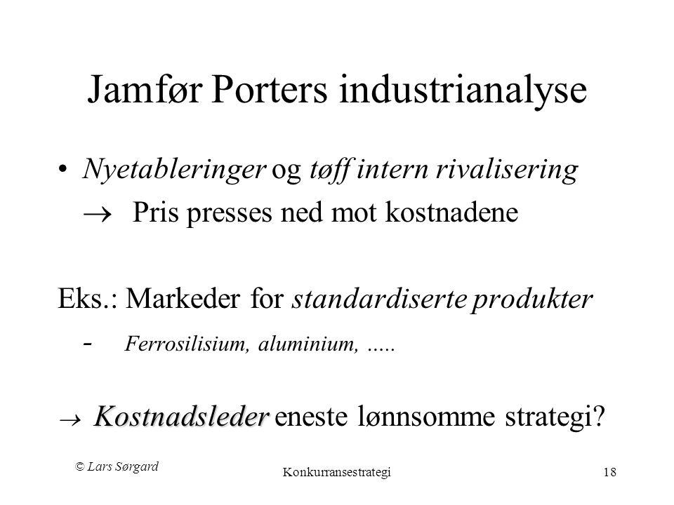 Jamfør Porters industrianalyse