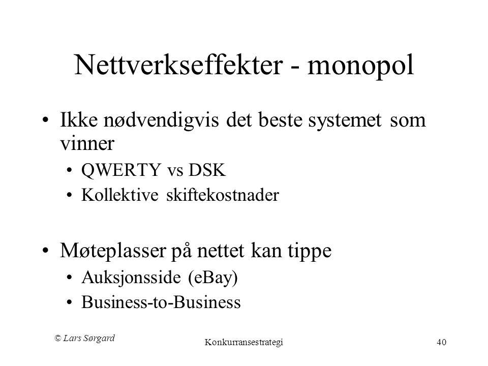 Nettverkseffekter - monopol