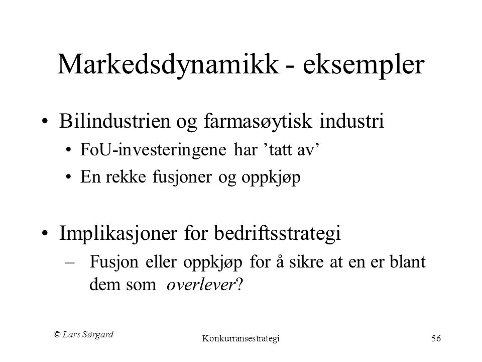 Markedsdynamikk - eksempler