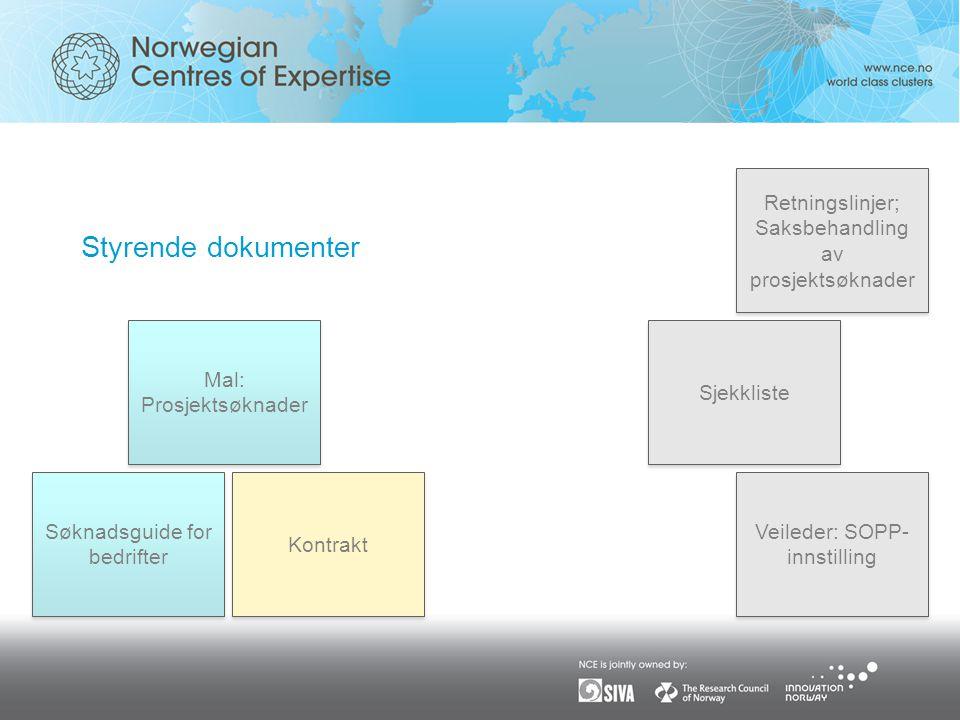 Styrende dokumenter Retningslinjer; Saksbehandling av prosjektsøknader