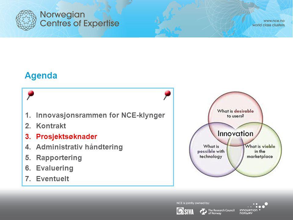 Agenda Innovasjonsrammen for NCE-klynger Kontrakt Prosjektsøknader