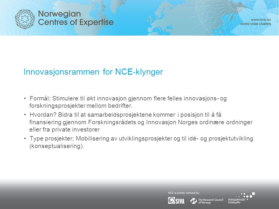 Innovasjonsrammen for NCE-klynger