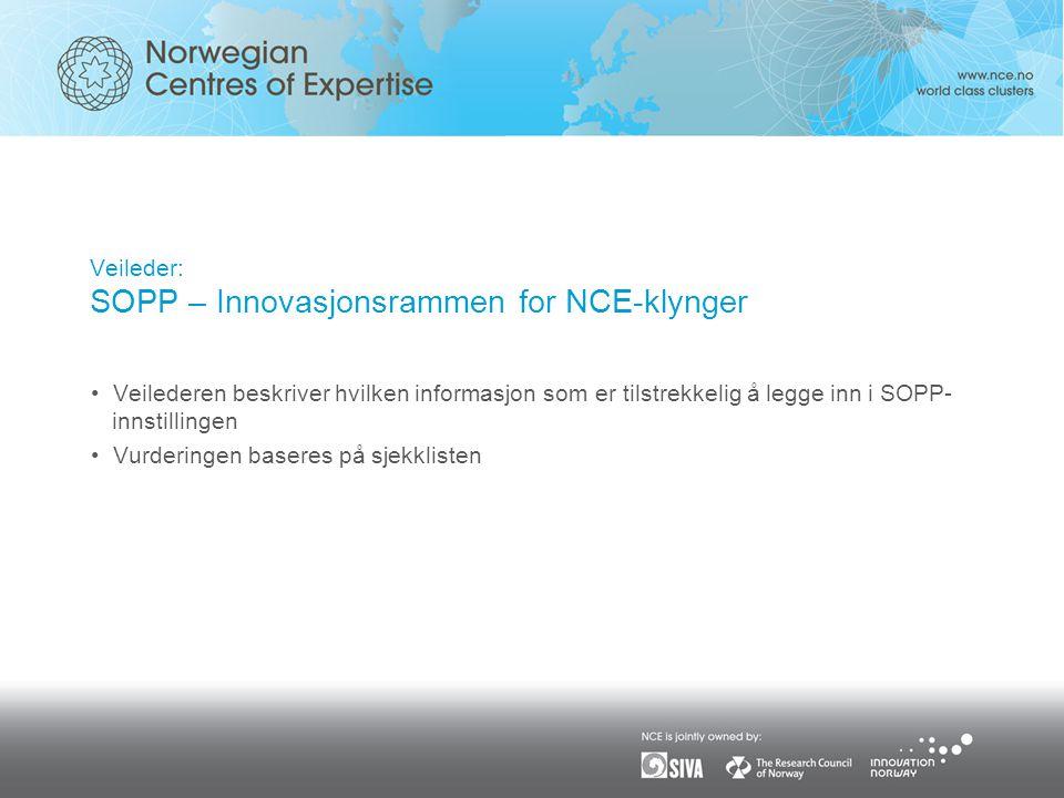 Veileder: SOPP – Innovasjonsrammen for NCE-klynger