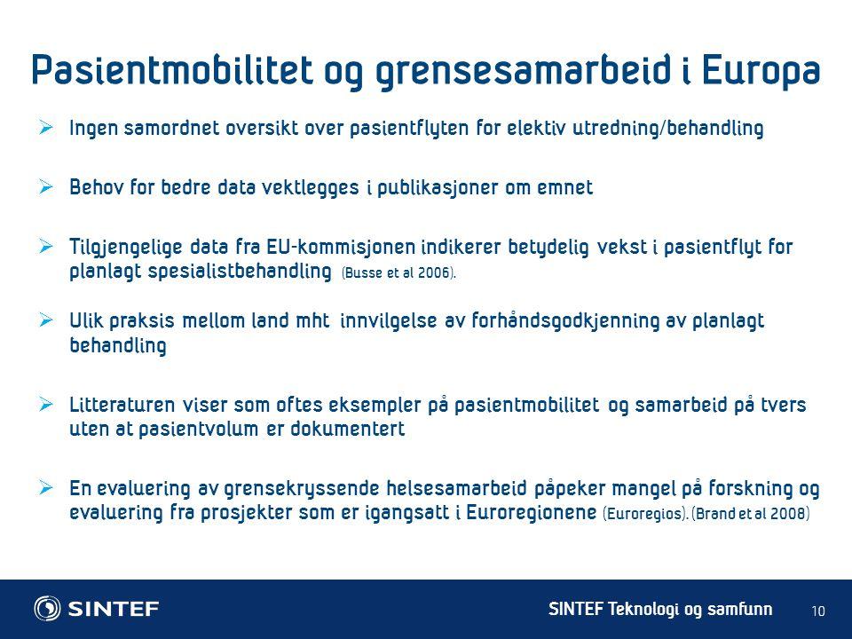 Pasientmobilitet og grensesamarbeid i Europa