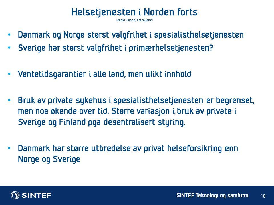 Helsetjenesten i Norden forts (ekskl Island, Færøyene)