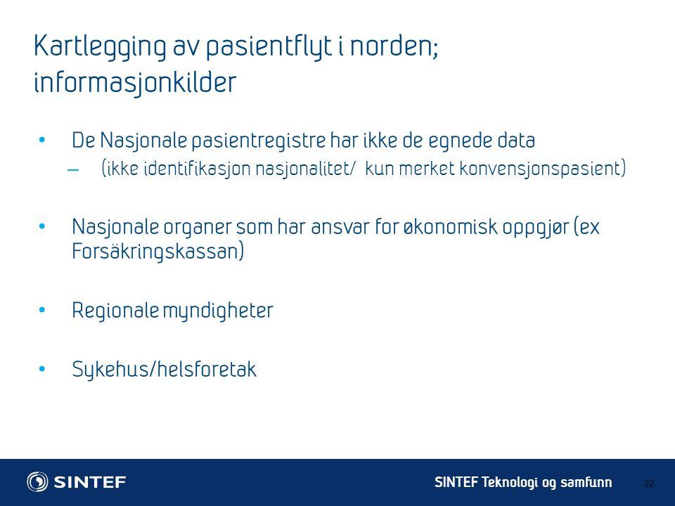 Kartlegging av pasientflyt i norden; informasjonkilder