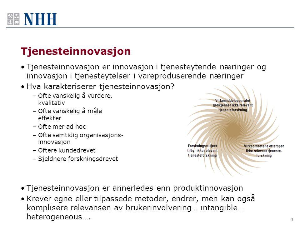 Tjenesteinnovasjon Tjenesteinnovasjon er innovasjon i tjenesteytende næringer og innovasjon i tjenesteytelser i vareproduserende næringer.