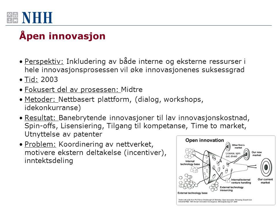 Åpen innovasjon Perspektiv: Inkludering av både interne og eksterne ressurser i hele innovasjonsprosessen vil øke innovasjonenes suksessgrad.