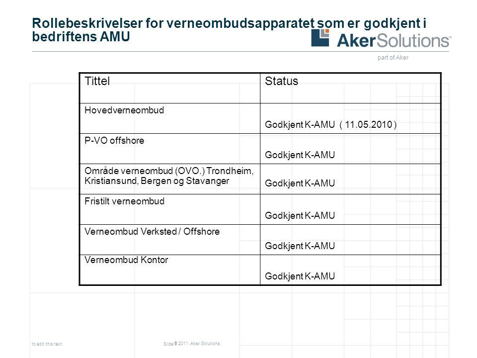 Rollebeskrivelser for verneombudsapparatet som er godkjent i bedriftens AMU