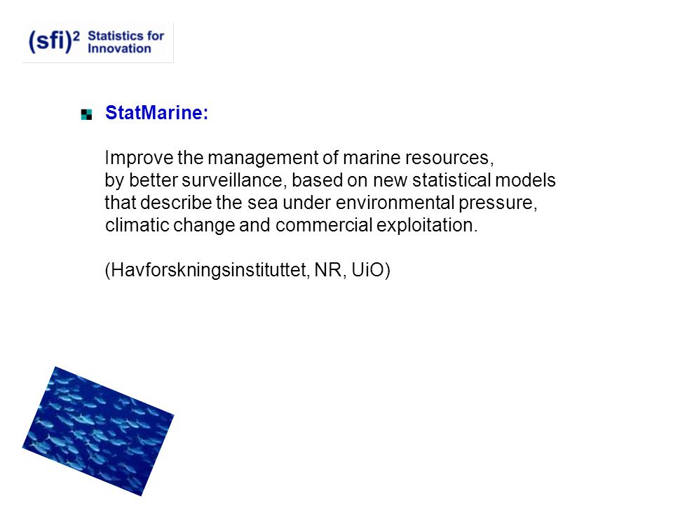 StatMarine: Improve the management of marine resources, by better surveillance, based on new statistical models.