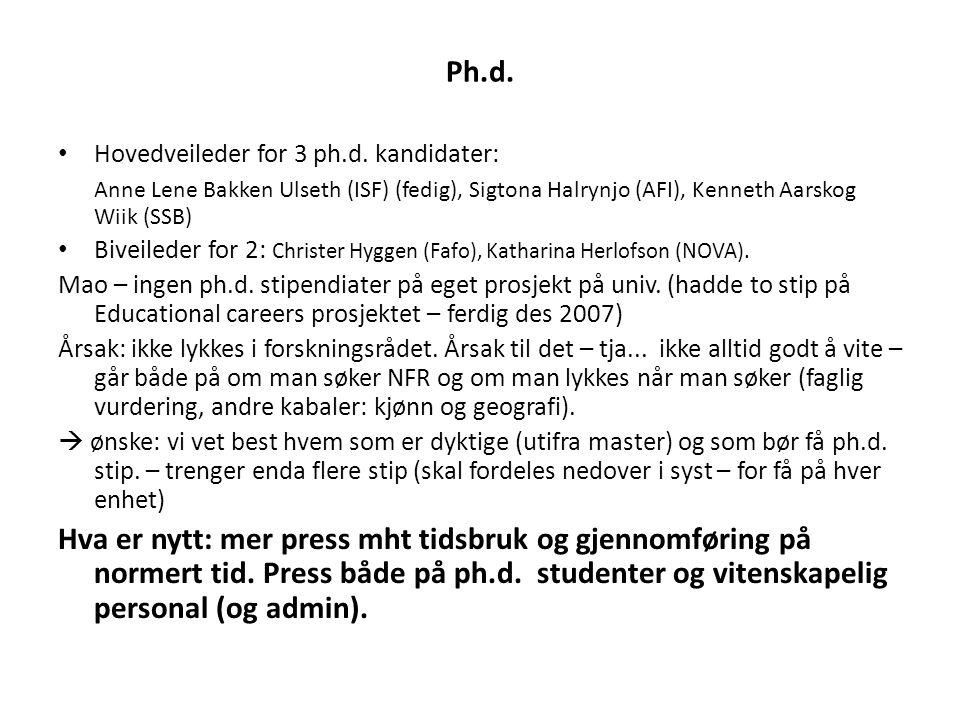 Ph.d. Hovedveileder for 3 ph.d. kandidater: Anne Lene Bakken Ulseth (ISF) (fedig), Sigtona Halrynjo (AFI), Kenneth Aarskog Wiik (SSB)