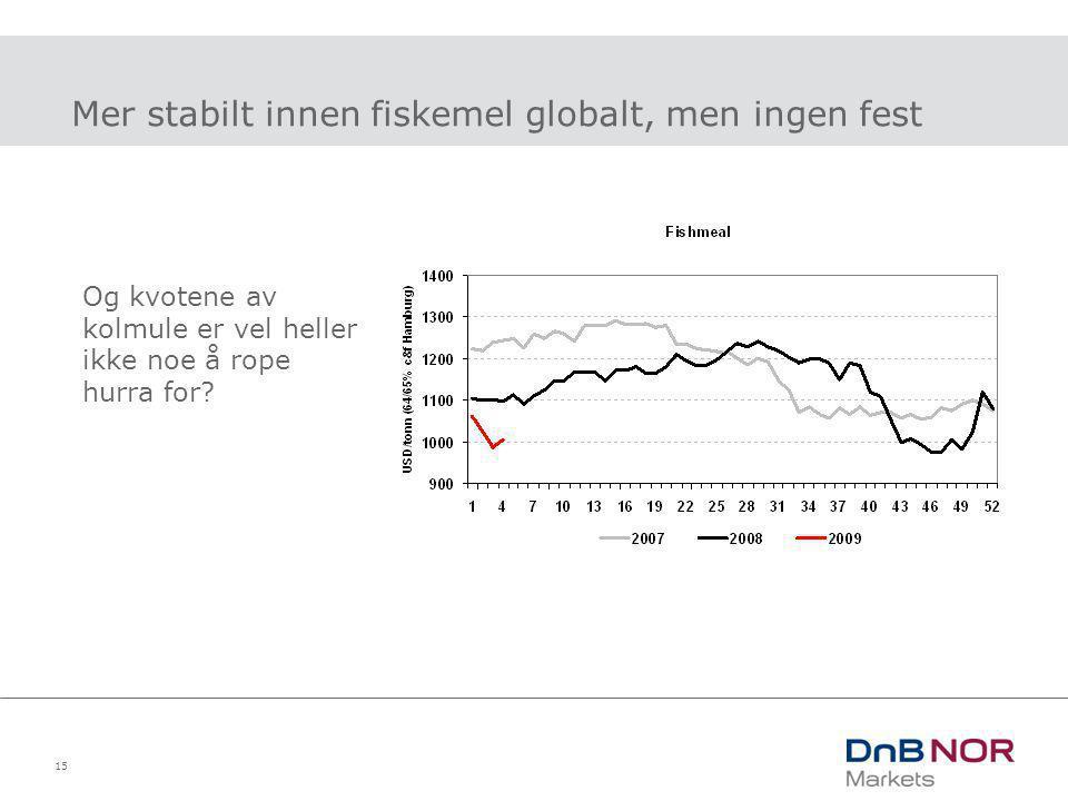 Mer stabilt innen fiskemel globalt, men ingen fest