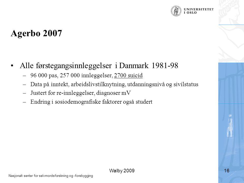 Agerbo 2007 Alle førstegangsinnleggelser i Danmark 1981-98