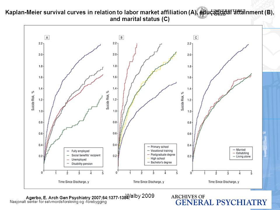 Kaplan-Meier survival curves in relation to labor market affiliation (A), educational attainment (B), and marital status (C)