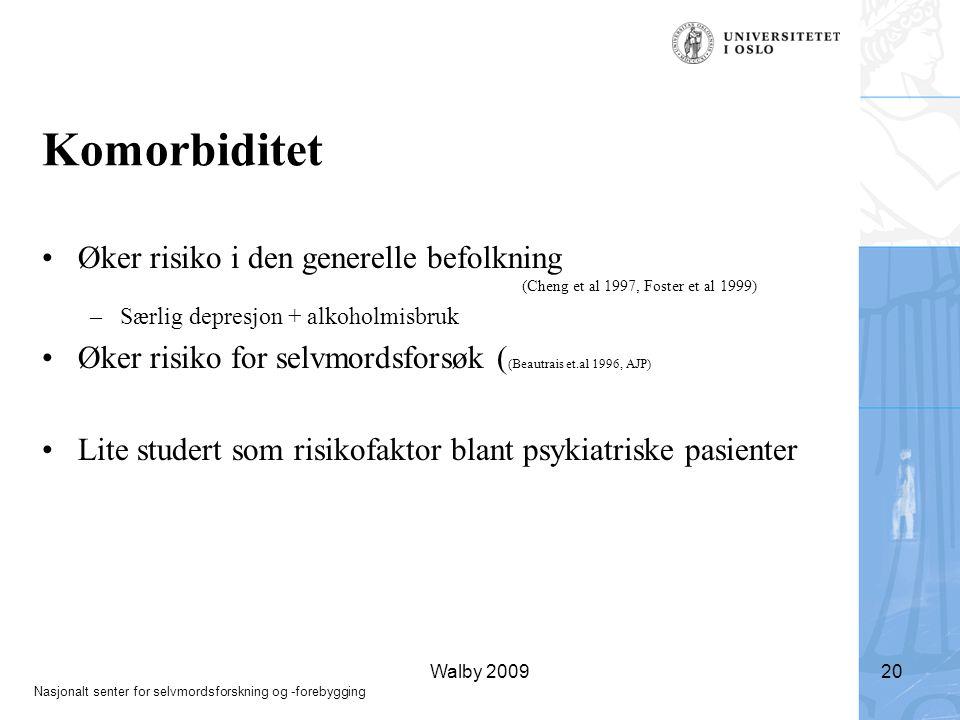 Komorbiditet Øker risiko i den generelle befolkning (Cheng et al 1997, Foster et al 1999) Særlig depresjon + alkoholmisbruk.