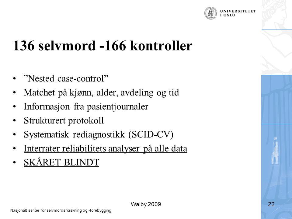 136 selvmord -166 kontroller Nested case-control