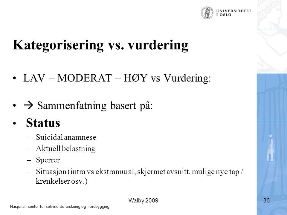 Kategorisering vs. vurdering